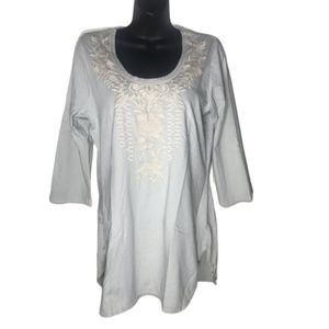 "JOHNNY WAS ""Letty"" 3/4 Sleeve Tunic, Size Medium"